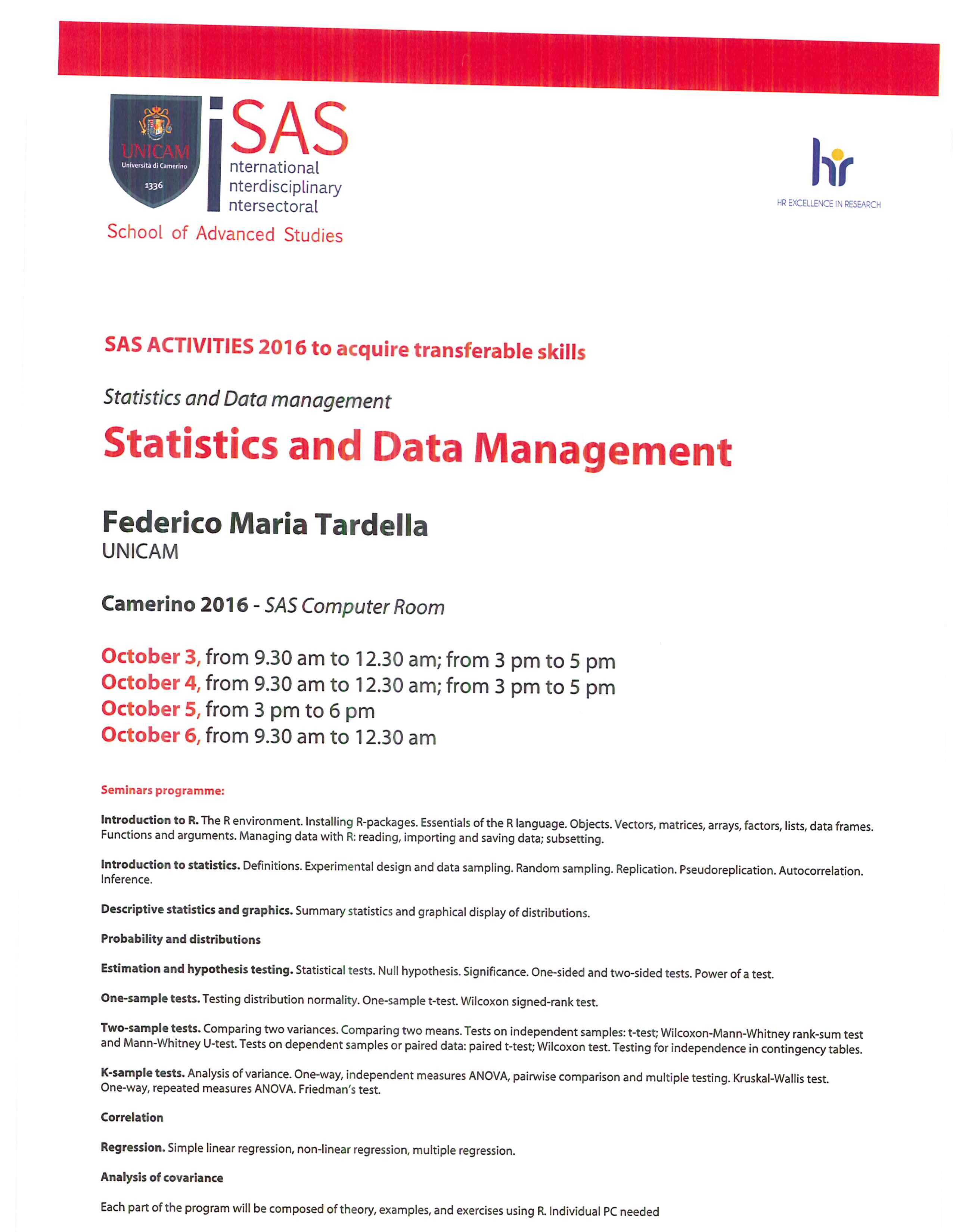 Statistics, Data management