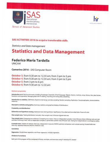 Statistics, Data management